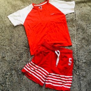 Teamspirit boy's red white short pajama set 7-8 yr